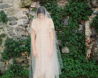 Cathedral Length Drop Veil with Ballet Length Blusher, Wedding Veil, Drop Veil, Bridal Veil -Style 1415 'Sapphira' MADE TO ORDER