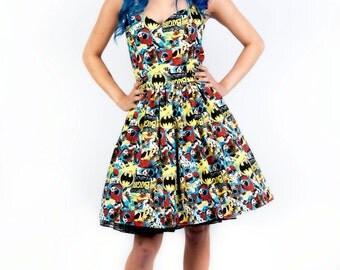 Batgirl dress-comic dress- Womens halterneck