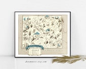 WYOMING MAP Print - Instant Download - printable vintage map for framing, totes, pillows & cards etc. in aqua - lovely wedding map art