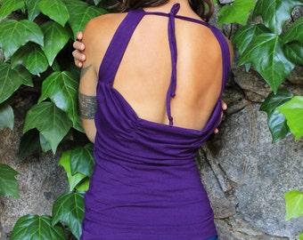 Cascada tank-womens tank top-summer tops-halter top tank-sexy shirts-dance tops women-womens halter top-open back top-summer tank top-purple