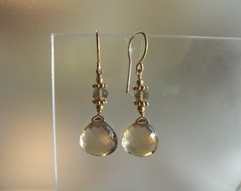 Champagne quartz briolette heart with brown quartz rondelle vermeil and gold filled earrings gemstone handmade  MLMR item 701