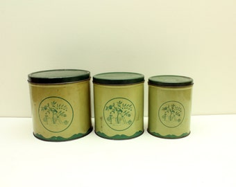 Rustic Metal Canister Set, Empeco Canisters, Tin Canisters with Lids, Farmhouse Kitchen Canisters, Vintage Canisters