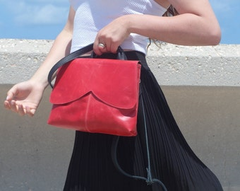 Red leather bag,women , tote, cross body free shiping,messenger,purse, wristlet