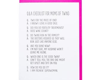 New Baby / Twins - Q&A Letterpress Card