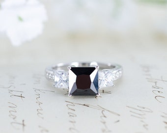 sale black engagement ring three stone ring princess cut ring gothic ring - Goth Wedding Rings