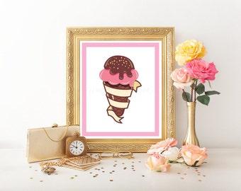 Ice Cream Printable, Ice Cream Sundae, Ice Cream Digital Download, Ice Cream Sign, Ice Cream Art, Ice Cream Print, Ice Cream Decor 0185
