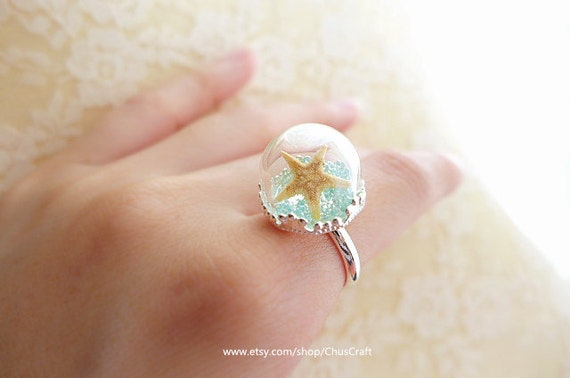 real starfish ring starfish jewelry statement ring by