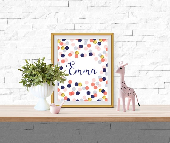 Marion S Coral And Gold Polka Dot Nursery: Navy Coral Pink & Faux Gold Foil Custom Name By AlexaMooreShop