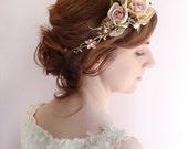 rose gold bridal headband, gold flower crown, pink and gold hairpiece, bronze hairpiece, Swarovski crystals, peach pink flower headpiece