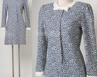Vintage Dress, Vintage blue dress, polka dot dress, bow tie dress, 80s secreatary dress - S/M