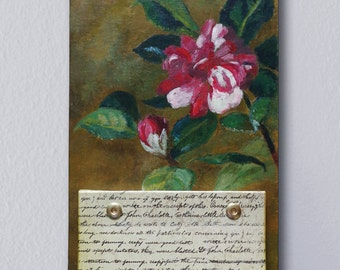 Hanging notepad on chipboard with flower painting, ready to hang. Home, office wall art decor.