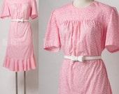 Vintage 60s dress, Vintage pink dress, Mad Men Dress, Vintage floral dress, Pink Floral Dress, 60s Pink Dress, Summer Dress - M/L