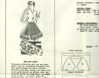 Circular Skirt Apron with Tulip Cross Stitch Border Transfer - Vintage Needlecraft Corner Mail Order Sewing Pattern 5798