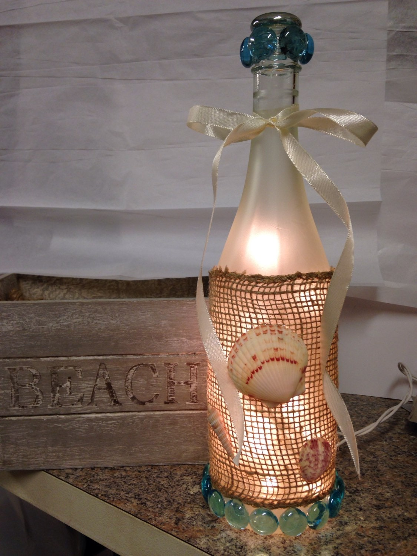 Beach themed wine bottle lamp wine bottle
