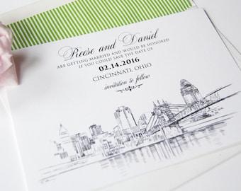 Cincinnati Skyline Hand Drawn Save the Date Cards (set of 25 cards)