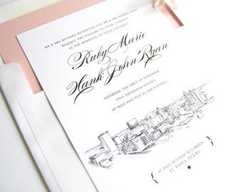 El Paso, Texas Skyline Wedding Invitations Package (Sold in Sets of 10 Invitations, RSVP Cards + Envelopes)