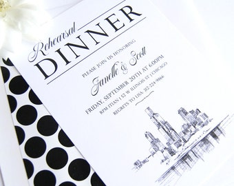 Chicago Skyline Hand Drawn Rehearsal Dinner Invitations (set of 25 cards)