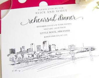 Little Rock, Arkansas Skyline Hand Drawn Rehearsal Dinner Invitations (set of 25 cards)