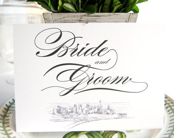 Skyline Bride and Groom Sign
