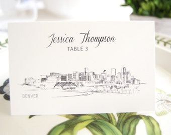 Denver Skyline Folded Place Cards (Set of 25 Cards)