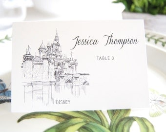 Disney Inspired Fairytale Wedding Skyline Blank Folded Place Cards (Set of 25 Cards)