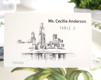 Chicago Skyline Folded Place Cards (Set of 25 Cards)
