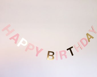 Pink and gold two tone happy birthday banner