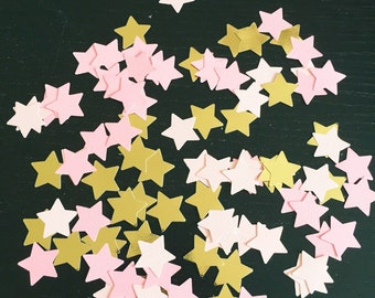 Metallic gold and two tone pink stars confetti scatters