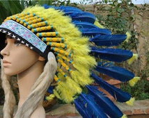 Chief Indian feather Headdress Native American Costume Hand Made Feathers indian War Bonnet Hat feather hat