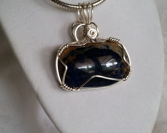 Silver Wire Wrapped Blue Sodalite Gemstone Pendant