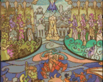 lotr cross stitch lord of rings pattern stained glass rings Cross Stitch korss -154 x 482 stitches- Instant Download - B845