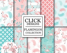 """Flamingo Digital Paper: """"FLAMINGOS"""" birds in pink, teal, coral, feathers, leaves, flamingo clipart for baby shower, invitation, scrapbooking"""