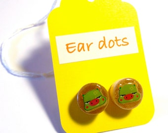 Pig Face Studs,Ear Dots, Earrings,Studs,Painted little Wood Dots,