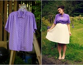 1980's purple button up blouse with diamond, rectangle, and polka dot print and hidden buttons plus size