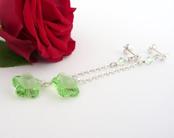 Green Swarovski Earrings, Silver Long Earrings, Sterling Silver Earrings, Swarovski Green Flower Earrings