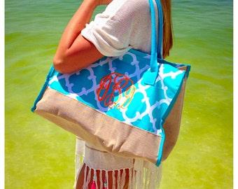 Teal/burlap monogrammed beach bag/ tote bag