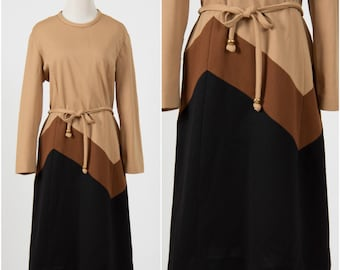 Vintage 1970s brown & black chevron stripe dress Mad Men Secretary Retro