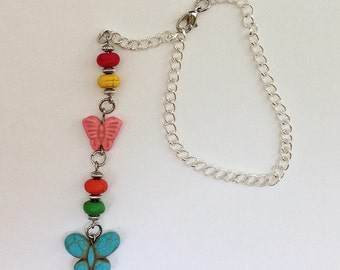 Turquoise Pink Butterfly Beaded Car Charm, Auto Hanging Rear View Mirror, Glass or Window Rearview Ornament Decor Accessory