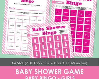 Printable Baby Shower Game - Baby Bingo - Girls