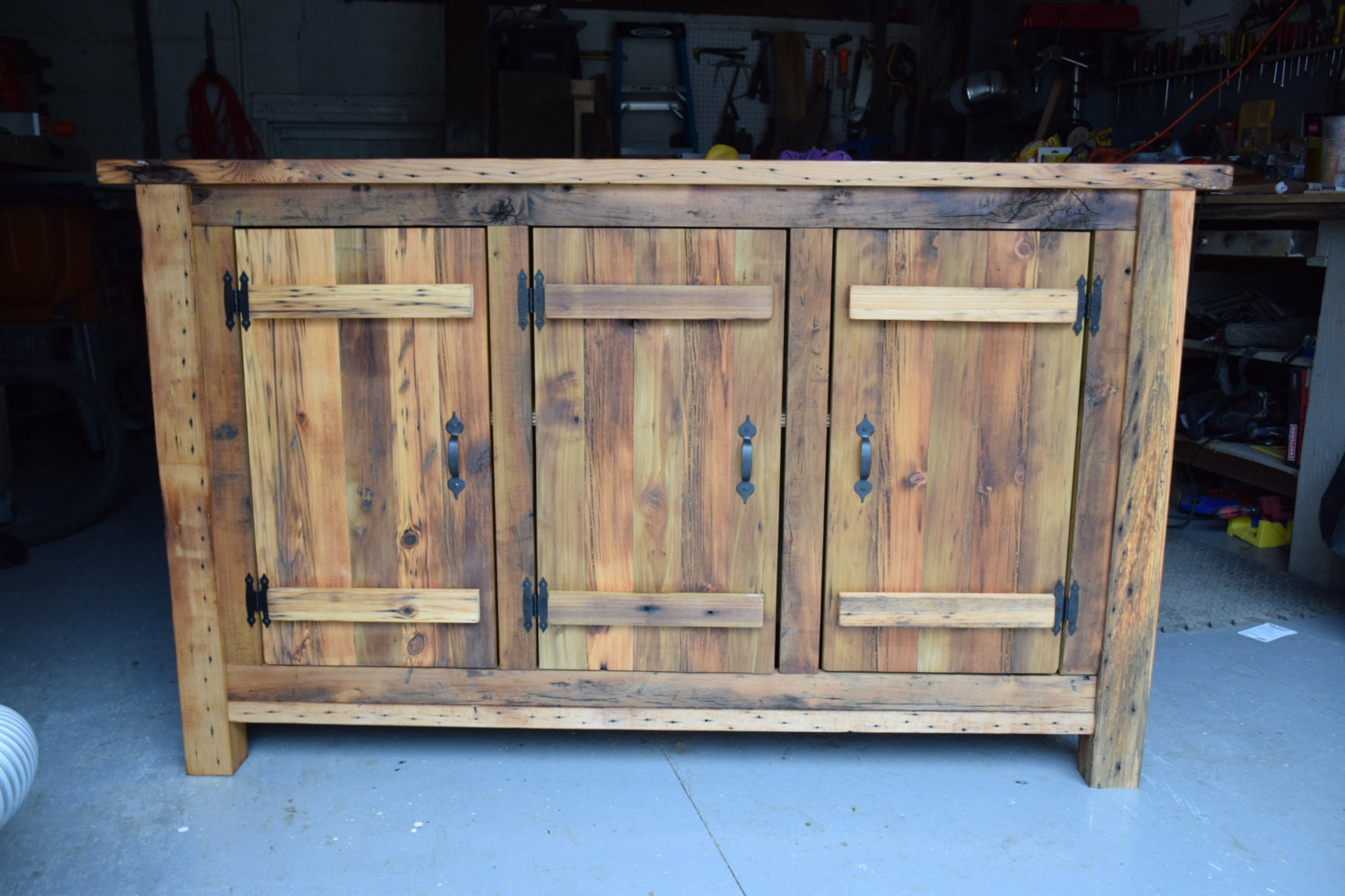 Reclaimed wood rustic buffet farmhouse buffet table entryway for Dining room buffet