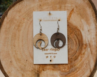 Candy. Wooden earrings are cut and laser engravings.