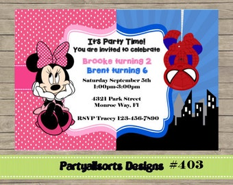 DIY - #403 Minnie Mouse and Spiderman Party Invatations