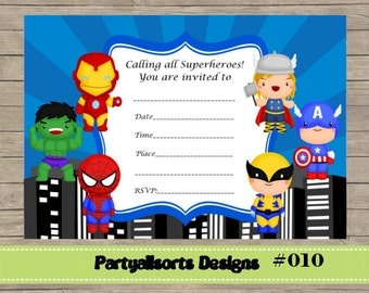 DIY - FILL IN Yourself Superhero Invitations