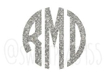 Glitter Monogram Decal, Vinyl Decal, Glitter Decal, Personalized Sticker
