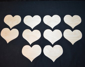 Handcrafted 3 Inch Wooden Hearts, Set of 10