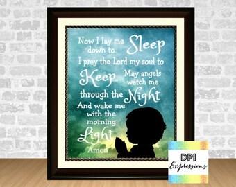 "Nursery Art Print ""Now I Lay Me Down To Sleep"" Bedtime Prayer Children's Room Boy Silhouette, Nursery Wall Decor, Digital INSTANT DOWNLOAD"