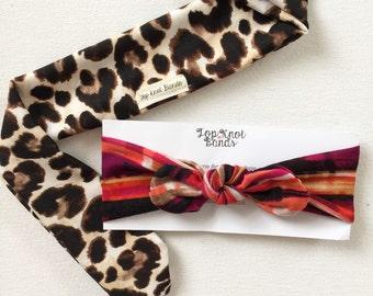 Leopard Topknot or Bowband headband, turban