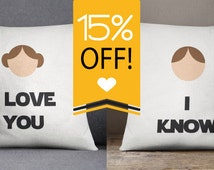 Star Wars I Love You I Know Throw Pillow Set or Pillowcases Bedding