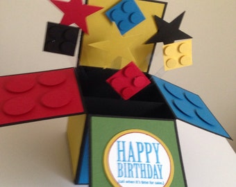 Happy Birthday Card in a box, Handmade Building Blocks Card, Happy Father's Day 3d Card