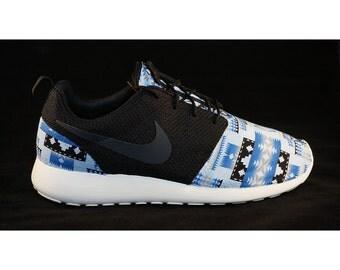 New Nike Roshe Run Custom Blue White Black Tribal Aztec Edition Mens Shoes Sizes 8 - 15